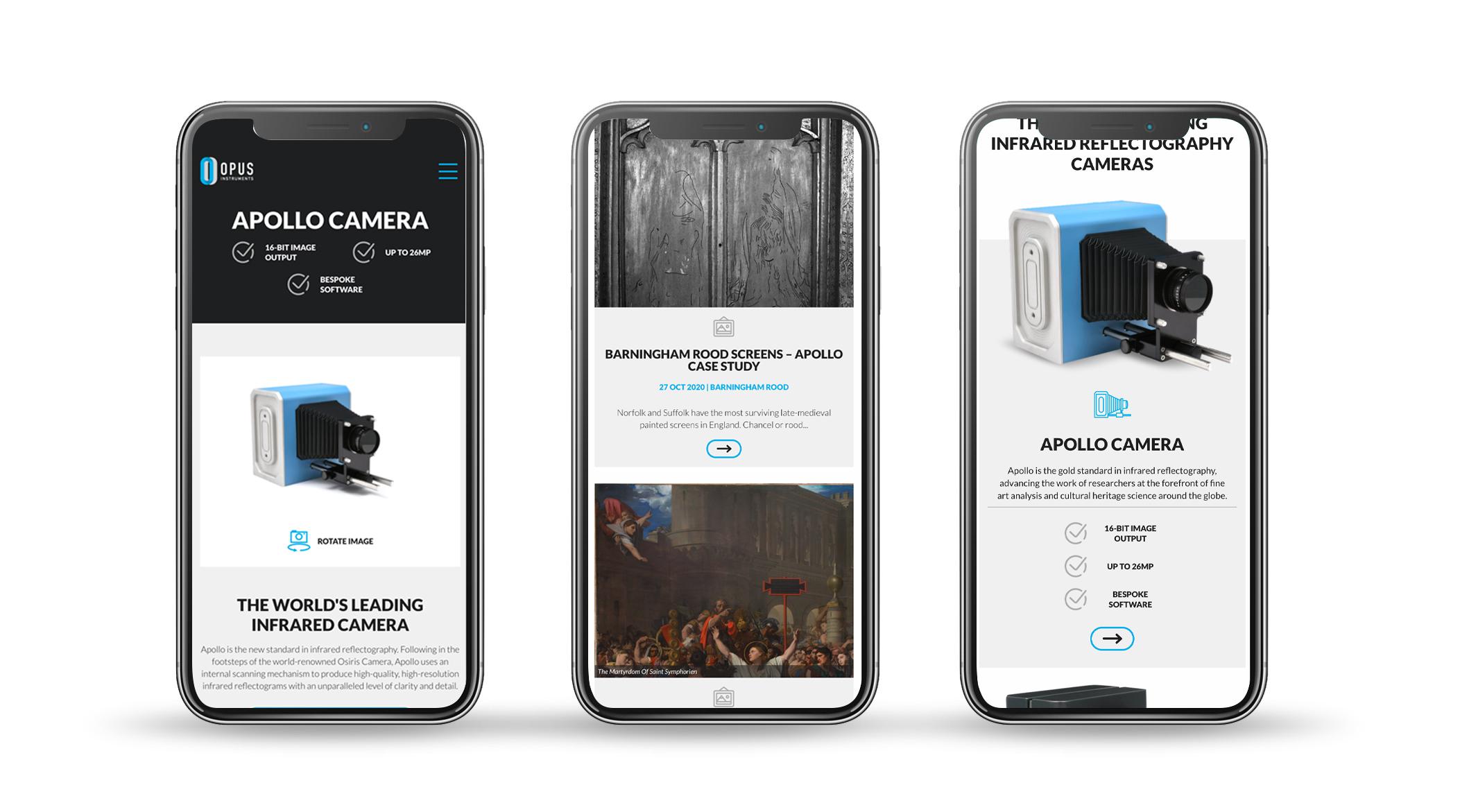Mobile optimised website deign example