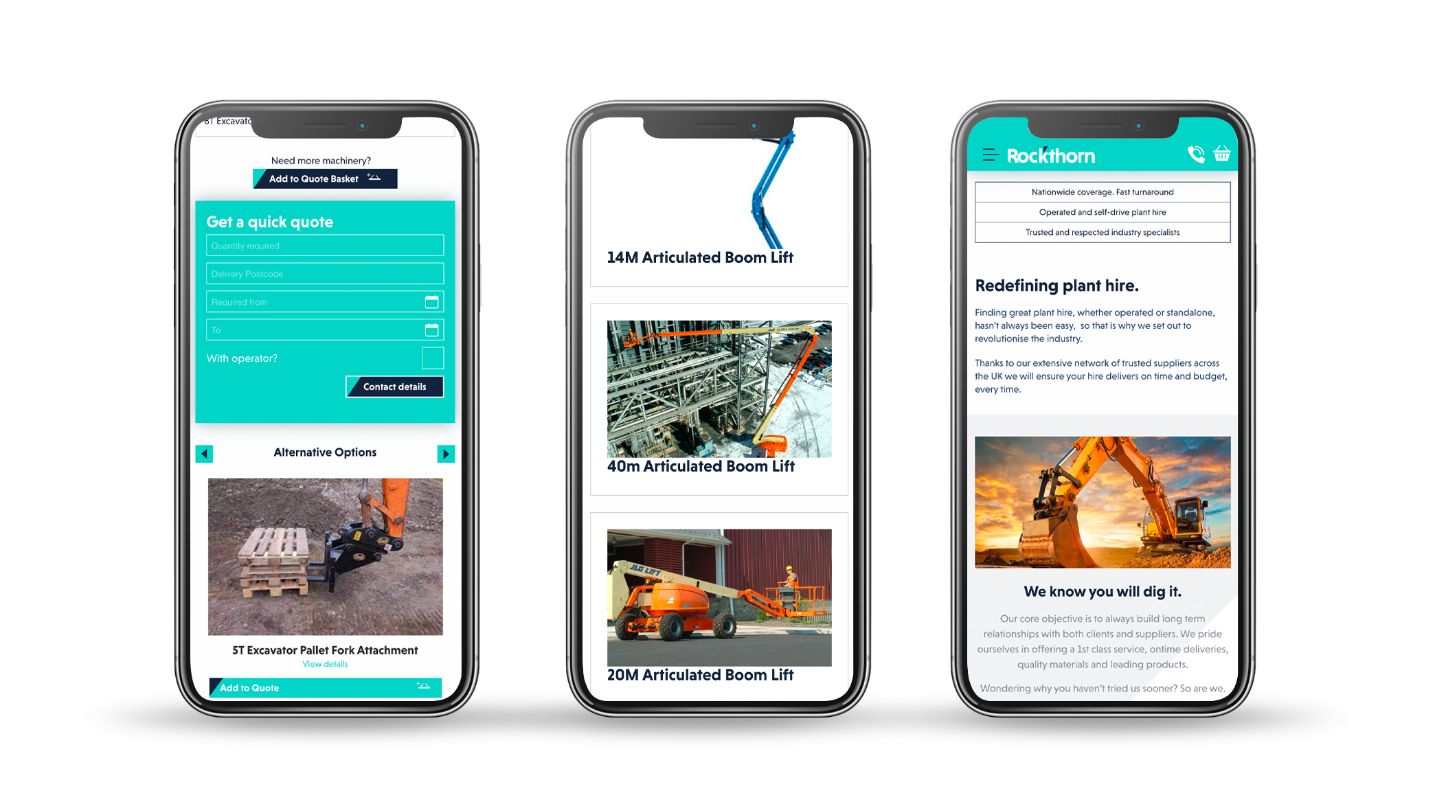 Mobile screens showing new website