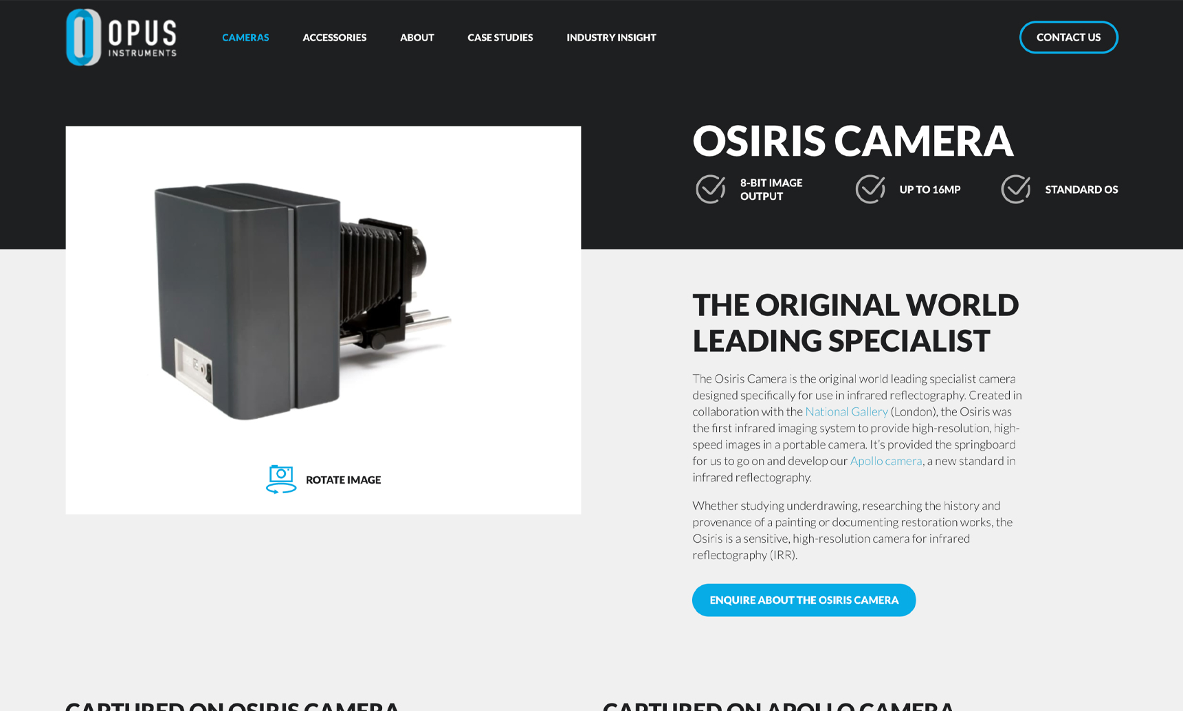 Product page website design example