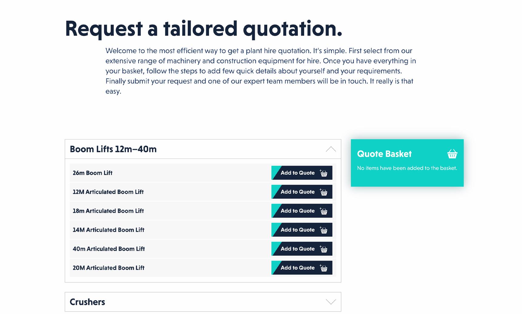 Design of quotation basket